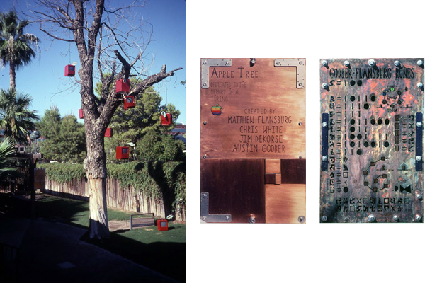 Apple Tree Project Macintosh IIc Computers Painted Red and Given an Oxidized Copper Leaf Adorn Dead Tree Outside Casey Moores Restaurant Tempe Arizona Secret Code Puzzle Challenges Mensa Difficult Code Solved in 39 days by local Chapter Matthew Flansburg Austin Godber Jim Decorse Chris White 1999