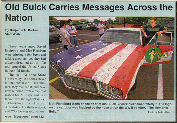 Betty Art Car 1996 United States Adventure David Estipona and Matthew Flansburg Travel Coast to Coast Across the Nation in 1970 Buick Skylark Painted Like the American Flag Driver's Side Door Painted Pin-Up Girl Betty