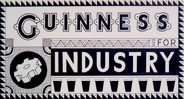 GUINNESS for INDUSTRY retro experimental advertisement paintins acrylic on canvas for the Irish Stout Beer by fLANSBURG dESIGN