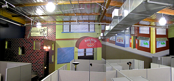 LIMELIGHT NETWORKS mural panoramic scene perspective cube land fLANSBURG dESIGN