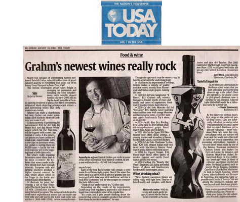 USA Today August 2002 Matt Flansburg's Bonny Doon Wine Syrah Macho Nacho
