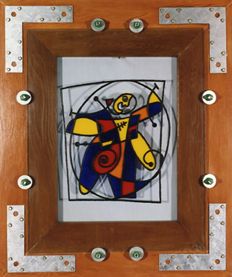 Architecture of a Man's Soul Acrylic Abstraction on Glass and Bolted Frame Inspired by Da Vinci Vitruvian Man fLANSBURG dESIGN