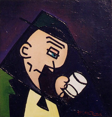 The Legend of Liam OMalley Acrylic on Canvas Inspired by a Drunk Irishman Near Temple Bar in Dublin Ireland Holding a Pint of Guinness in the Summer of 1998 Short Story About Conflict in Northern Ireland Matthew fLANSBURG dESIGN