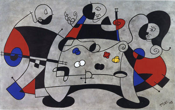 Three Pool Players Abstract Primary Colored Acrylic Painting on Canvas Definative Miro Inspiration Matthew Matt fLANSBURG dESIGN