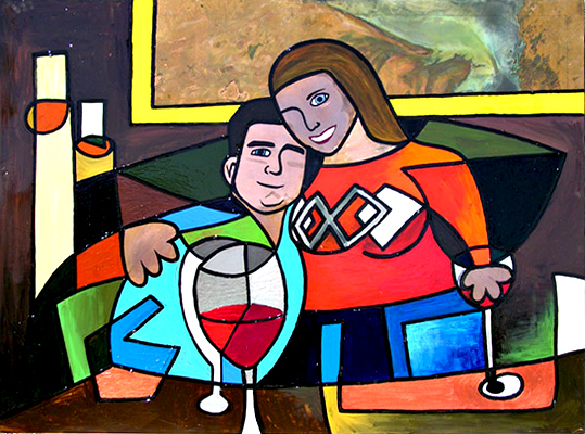Farrel and Heather Raskin Abstract Interpretation from Photo of Couple Engaged 2004 Acrylic on Heavy Gauge Copper Matthew Matt fLANSBURG dESIGN