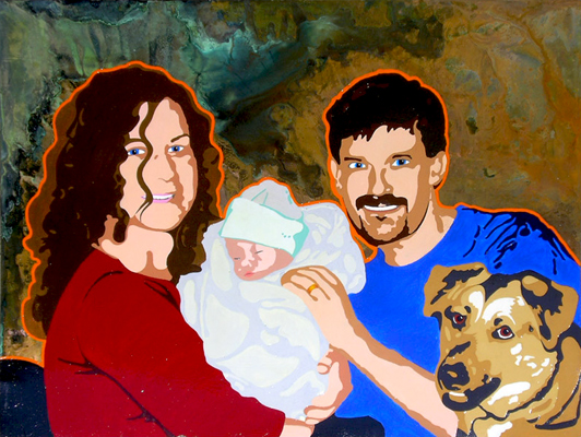 Peter Mindy Maya Buffy Weck Family Portrait Acrylic Abstract on Copper 2005 Matthew Matt fLANSBURG dESIGN